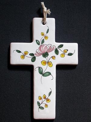 C4/ Croix au pois de senteur rose