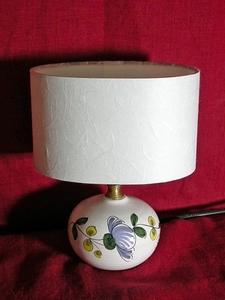 La Mini-lampe au Pois de senteur bleu, abat-jour blanc