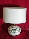 La Mini-lampe décor à la palombe verte, abat-jour blanc